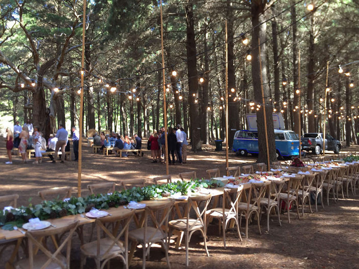 bar hire at a forest wedding