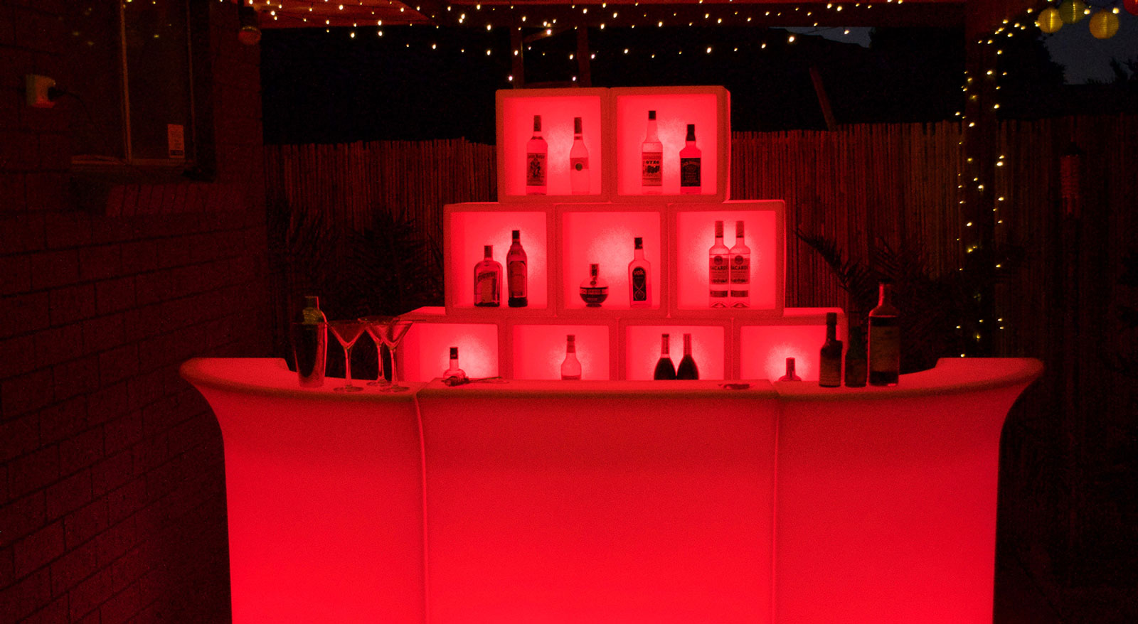 mobile cocktail glow bar red