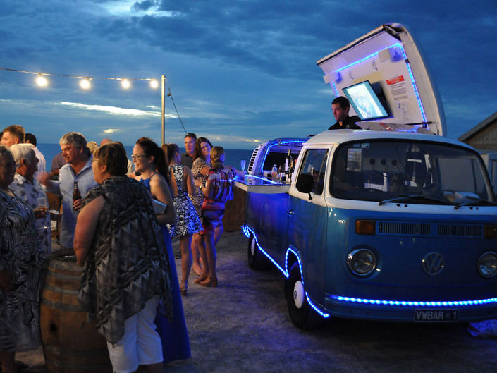 mobile bar at a beach wedding