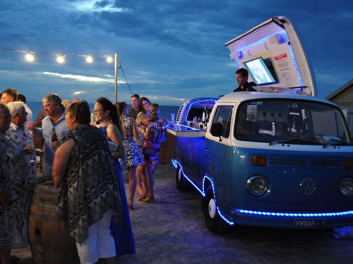 mobile bar at a beach wedding